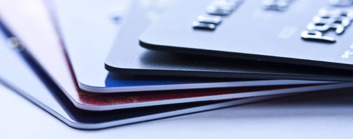 Stacked and Feathered Credit Cards