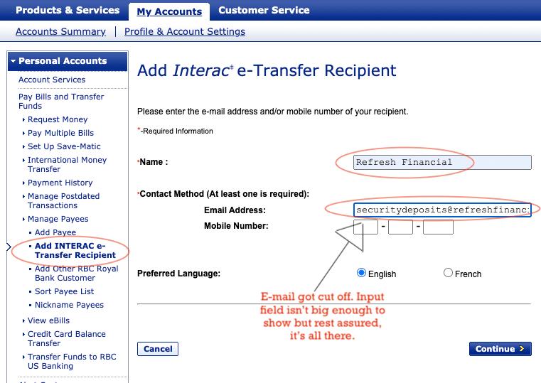 Refresh Financial Visa Payments