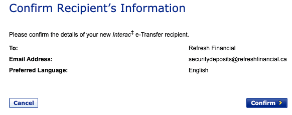 Screenshot asking to confirm details of adding Interac e-Transfer recipient