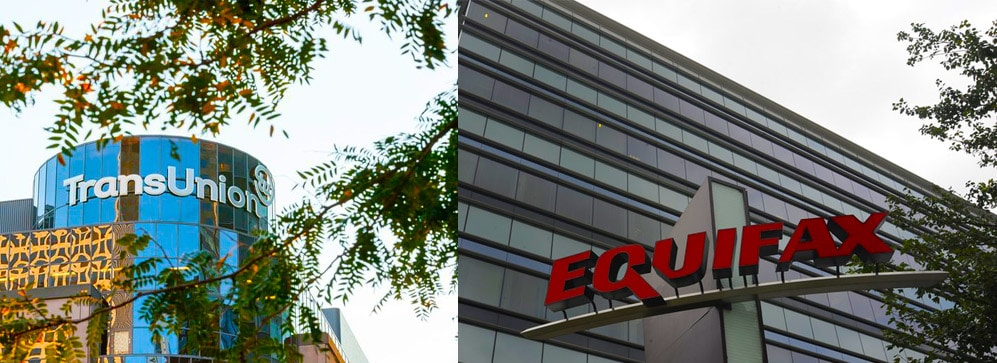 Side by Side Image of Equifax and Transunion. Hero Image