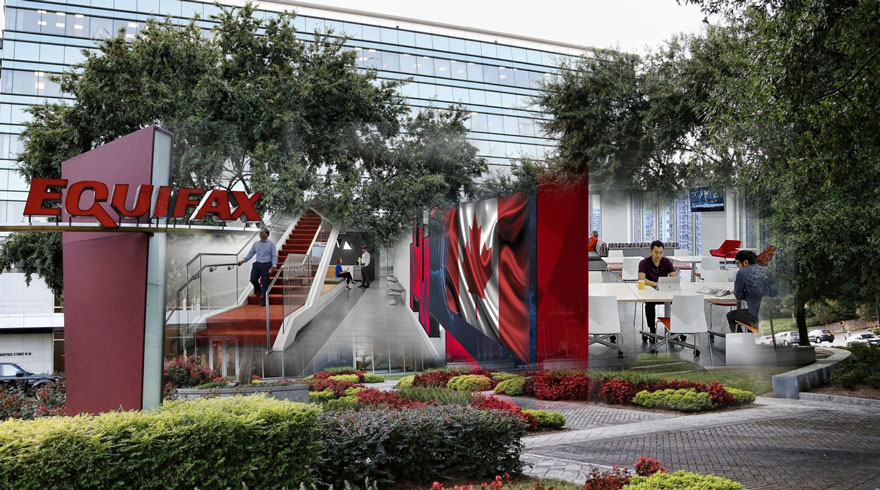 Equifax Headquarters With Canadian Flag blended into image, with outdoor botanical gardens and indoor blended office and atmosphere