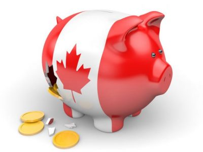 Red and White Flag Canadian PIggy Bank